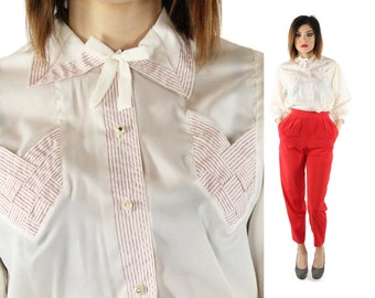 Vintage 50s Ascot Blouse Details Red White Candy Striped Long Sleeve Top Collared Button Up Shirt 1950s Large L Peggy Bates