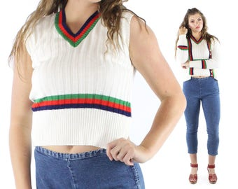 Vintage 70s Sweater Set Cardigan Vest White Red Blue Green Stripes Pullover Button Up 1970s Medium M Tennis Preppy Pinup Rockabilly