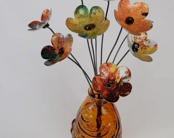 Autumn Leaves Orange and Yellows Bouquet of Forever Blooming Tin Flowers