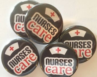 """Set of 20 I love nursing nurse week theme set of 20 buttons.  1"""" or 1.25"""" choose from pins, flat, hollow or magnets"""