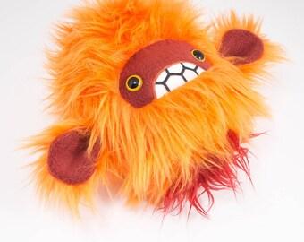 Severed pygmy sasquatch head plush.....Handmade bigfoot stuffed animal.....Orange faux fur