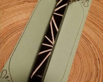 Scrimshaw Necklace Inlaid Ebony Piano Key OOAK Great Gift Idea