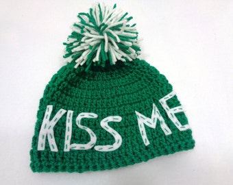 St. Patrick's Day Hat, Green Kiss Me Cap, Irish Pom Pom Hat, MADE TO ORDER  Charlene, Gift for Irish Baby, Present for St. Patty's Day Baby