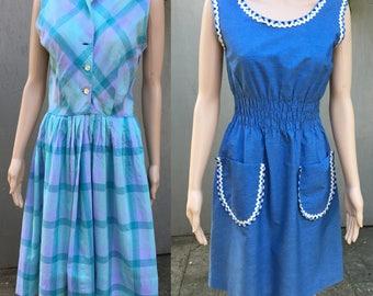 1950s 50s 60s summer plaid ric rac chambray day western dress Medium