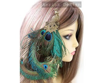 Natural Peacock feather fascinator hair clip (Risa design ) Vintage style peacock stamped brooch for mardi gras,kentucky derby,rose monday