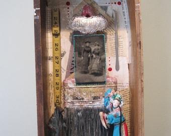 Mixed media shadow box, 3D art, assemblage, found object art