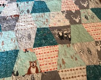 Hello Bear Quilt Baby or Lap Size Tumbler -- Bonnie Christine -- blue, brown, cream, grey, orange