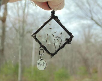 Pressed flower jewelry pendant necklace, Tiffany stained glass necklace dried dandelion seed heads, make a wish necklace, nature inspired