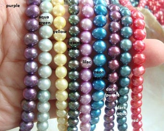 """16"""" Strand, 6-7mm, Natural Fresh Water Pearls, Gorgeous Color, Round Off Round Freshwater Pearls, select your color"""