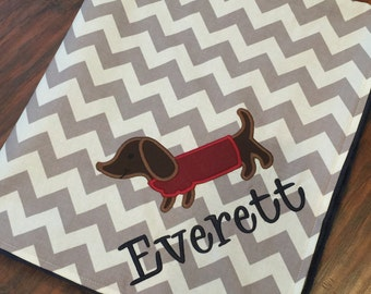 Personalized Baby Blanket- Dachshund Baby Blanket- Chevron Baby Blanket- Dog Baby Blanket