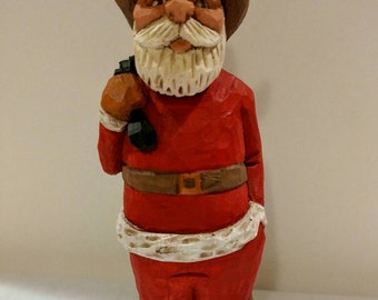 Hand Carved Western Santa Christmas Cowboy Whittled Basswood Folk Art Sculpture Figurine  Handmade