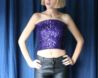 1970s Tube Top/ Purple Sequined Midriff-Baring Disco / One Size / New Years Eve Shirt / Sequins / Sequence