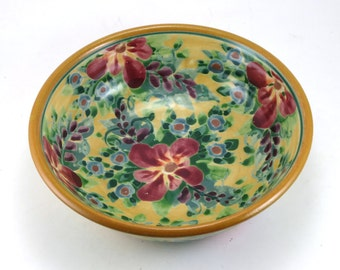 """Shallow Yellow Ceramic Bowl - 7"""" Porcelain Serving Bowl with Purple Flowers - Hanmade OOAK Pottery"""