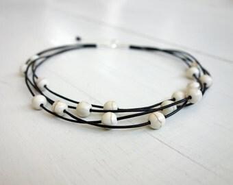 Layered statement choker howlite stones necklace leather choker necklace white stones