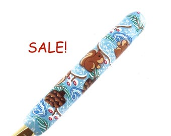 SALE! Susan Bates, J 10/ 6.00mm Polymer Clay Covered Crochet Hook, Winter Squirrel