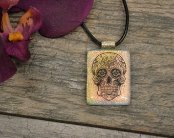 Fused Glass Sugar Skull Dichroic Pendant, Dia de Los Muertos, Day of the Dead, Sugar Skull Jewelry