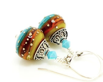 Southwestern Earrings, Lampwork Earrings, Glass Earrings, Glass Bead Earrings, Colorful Earrings, Glass Art Earrings, Beadwork Earrings