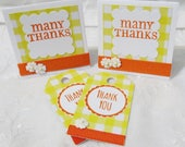 Mini Thank You Cards and Gift Tags Yellow and Orange Custome Order 100