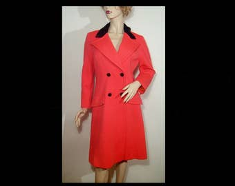 1960s Lilli Ann Knit coral orange wool coat ~ Small Medium ~ satin ~ black velvet wide lapel collar & buttons ~ fitted tailored curvy