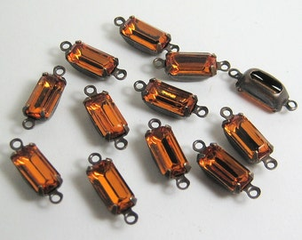 12 - 10x5 Yellow Topaz Octagons Mounted in 2 Ring Patina Brass Setting