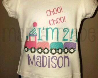 Girls 2nd Birthday Shirt, Girl's Train Birthday Shirt, Choo Choo I'm 2 Shirt, second birthday train shirt 2 train 12m 18mo 24mo 2t 3t 4t 5