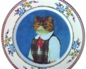 ON SALE Heather, School Portrait - Altered Vintage Plate  10""