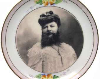 Madame Delait, The Bearded Lady of Plombieres Plate 6.5""