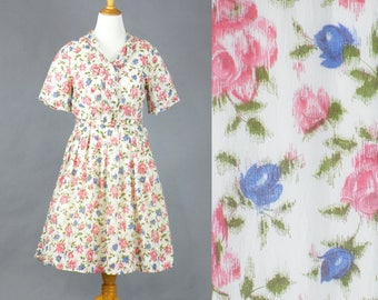 1950s Roses Dress, 50s Dress, Vintage Floral Roses Print Day Dress, Large