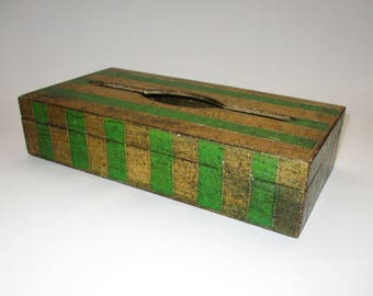 Green and Gold Florentine Tissue Box, Florentia Made in Italy, Hollywood Regency Home Decor