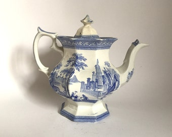 Antique 1800's Blue Transferware Teapot - Hole in Side - Decorative Only