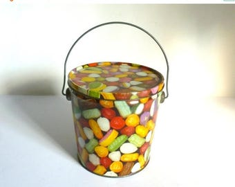 Mid Century Metal Hard Candy Gift Pail Bucket