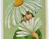 Oh You Daisy Girl Flower Hat Fantasy 1910c postcard