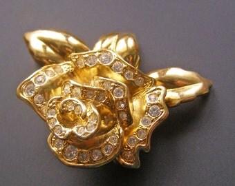 Vintage Rose Brooch, Gold Tone Flower Brooch, Rhinestone Rose Brooch, Bold Rose Brooch, Avon Rose Brooch
