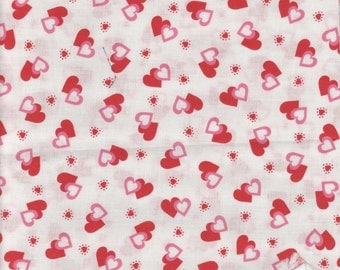 Fat Quarter, 1/2 yd or 1 yd  valentine pink and red hearts on a white background Quilt 100%  Cotton Fabric Maine sewing crafting supply