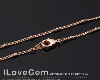 SALE/ 20pcs / NP-1848 Chain, Rose Gold Plated, 135 Curb with 2mm beads, Satellite chain, Delicate chains, 16 inch / rose gold Necklace chain