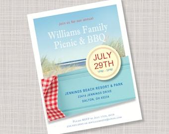 Custom Summer BBQ Picnic Beach Party Invitations