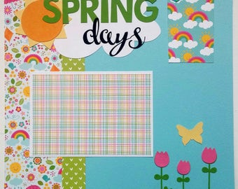 Spring scrapbook page - Scrapbook spring - Spring scrapbook layout - Playing outside - Outdoors - Spring photos -  Kids scrapbook - Baby