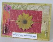 Simple Joy Card, Slider Card, Handmade Spring Card, Yellow Flower Card, Handmade Blank Card.