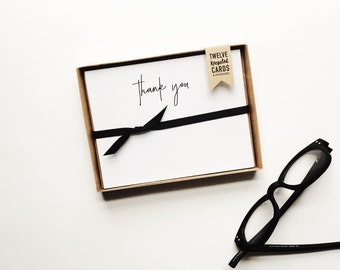 messy + modern thank you notecards, set of 10, recycled