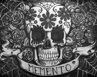 Memento Mori Sugar Skull paint yourself stretched canvas print