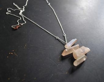 FREE Shipping - Boho Rose Aura Quartz Necklace - copper, silver, rose luster quartz