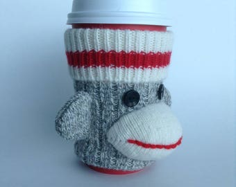 Sock Monkey Coffee Cup Cozy
