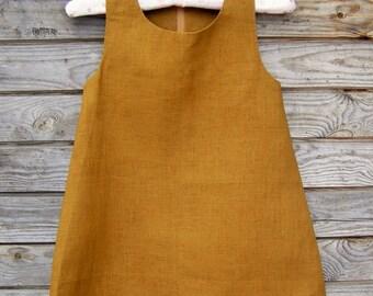Mustard green Linen Dress, Flower Girl, Summer Dress, Rustic Wedding, Linen, Round Neck, Country Dress, Handmade