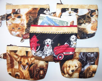 Kittens or Puppies Quilted Coin Purse,Your Choice,Quilted Inside/Out,Key Clip,Handcrafted, Zippered Pouch,Cat Dog,Fire Dept.,Cats,Dogs