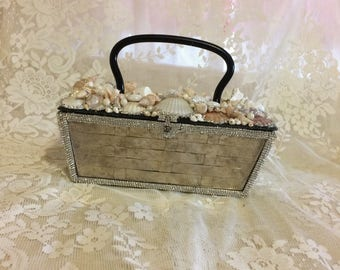 Stunning Upcycled Silver and Lucite Basket  Weave  Purse