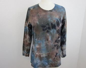 Long Sleeve Tie Dye Large Ladies Size Light Blue and Brown