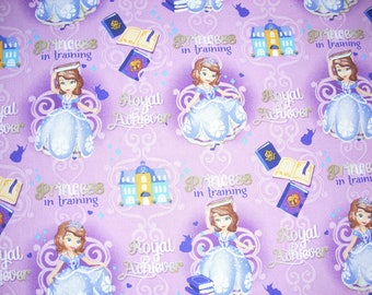 Sofia the First, Princess in Training on light purple  Cotton Fabric - 14 inches wide and sold by the yard