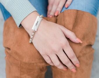 Love Jewelry, Chain Bracelet, Hand Stamped Jewelry