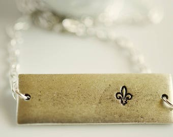 Fleur de Lis Jewelry, Southern Stamped Jewelry, Bar Necklace Silver
