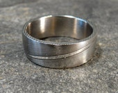 Sale-Half Price-Damascus Stainless Steel Ring, Wedding Band Hand Made-New Stock